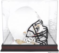 Oklahoma State Cowboys Mahogany Base Team Logo Helmet Display Case with Mirrored Back
