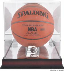 Indiana Pacers Mahogany Team Logo Basketball Display Case with Mirrored Back - Mounted Memories