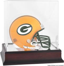 Green Bay Packers Mahogany Logo Mini Helmet Display Case - Mounted Memories