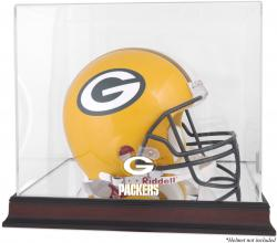 Green Bay Packers Mahogany Helmet Logo Display Case with Mirror Back