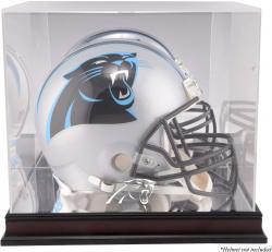 Carolina Panthers Mahogany Helmet Logo Display Case with Mirror Back