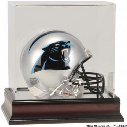 Carolina Panthers Mahogany Logo Mini Helmet Display Case - Mounted Memories