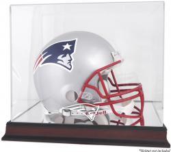 New England Patriots Mahogany Helmet Logo Display Case with Mirror Back