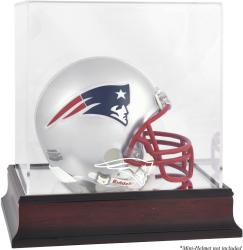 New England Patriots Mahogany Logo Mini Helmet Display Case - Mounted Memories