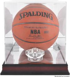 New Orleans Pelicans Mahogany Logo Basketball Display Case with Mirror Back - Mounted Memories