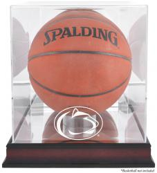Penn State Nittany Lions Mahogany Antique Finish Basketball Display Case with Mirror Back - Mounted Memories