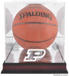 Purdue Boilermakers Mahogany Antique Finish Basketball Display Case with Mirror Back