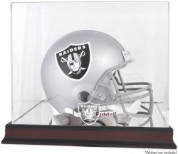 Oakland Raiders Mahogany Helmet Logo Display Case with Mirror Back