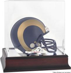 St. Louis Rams Mahogany Logo Mini Helmet Display Case - Mounted Memories