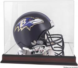 Baltimore Ravens Mahogany Helmet Logo Display Case with Mirror Back