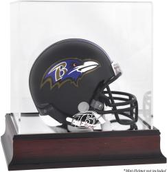 Baltimore Ravens Mahogany Logo Mini Helmet Display Case - Mounted Memories
