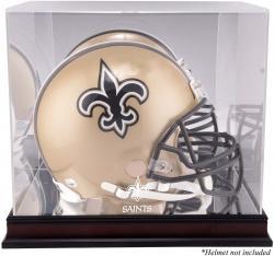 New Orleans Saints Mahogany Helmet Logo Display Case with Mirror Back