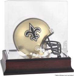 New Orleans Saints Mahogany Logo Mini Helmet Display Case