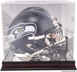Seattle Seahawks Mahogany Helmet Logo Display Case with Mirror Back