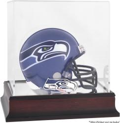 Seattle Seahawks Mahogany Logo Mini Helmet Display Case - Mounted Memories