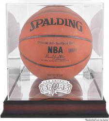 San Antonio Spurs Mahogany Team Logo Basketball Display Case with Mirrored Back - Mounted Memories