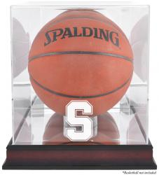 Stanford Cardinal Mahogany Antique Finish Basketball Display Case with Mirror Back - Mounted Memories