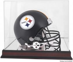 Pittsburgh Steelers Mahogany Helmet Logo Display Case with Mirror Back