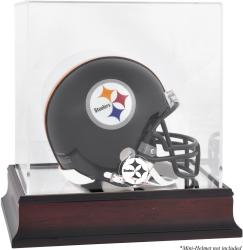 Pittsburgh Steelers Mahogany Logo Mini Helmet Display Case