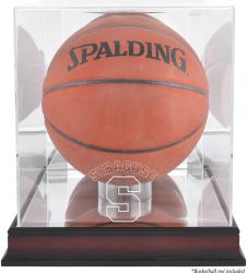 Syracuse Orange Mahogany Antique Finish Basketball Display Case with Mirror Back - Mounted Memories