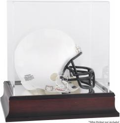 Syracuse Orange Mahogany Logo Mini Helmet Display Case with Mirror Back
