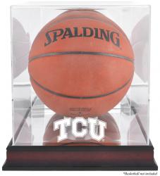 TCU Horned Frogs Mahogany Antique Finish Basketball Display Case with Mirror Back - Mounted Memories