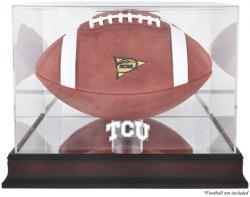 TCU Horned Frogs Mahogany Base Logo Football Display Case with Mirror Back - Mounted Memories