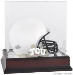 TCU Horned Frogs Mahogany Logo Mini Helmet Display Case with Mirror Back