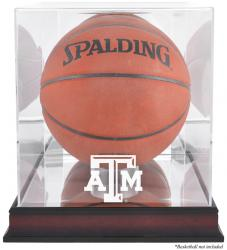 Texas A&M Aggies Mahogany Antique Finish Basketball Display Case with Mirror Back - Mounted Memories