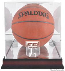 Texas Tech Red Raiders Mahogany Antique Finish Basketball Display Case with Mirror Back