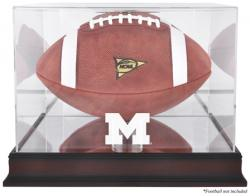 Michigan Wolverines Mahogany Base Logo Football Display Case with Mirror Back - Mounted Memories