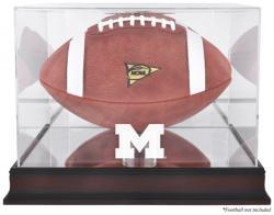 Michigan Wolverines Mahogany Base Logo Football Display Case with Mirror Back