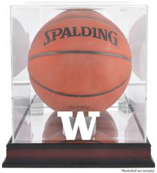 Washington Huskies Mahogany Antique Finish Basketball Display Case with Mirror Back - Mounted Memories