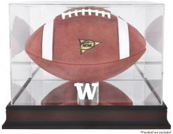 Washington Huskies Mahogany Base Logo Football Display Case with Mirror Back - Mounted Memories