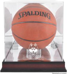 UConn Huskies Mahogany Antique Finish Basketball Display Case with Mirror Back - Mounted Memories