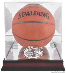 Florida Gators Mahogany Antique Finish Basketball Display Case with Mirror Back