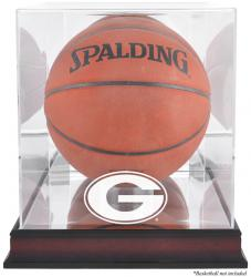 Georgia Bulldogs Mahogany Antique Finish Basketball Display Case with Mirror Back