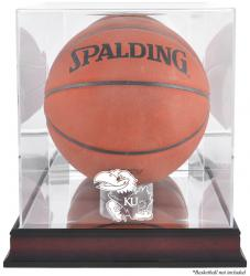 Kansas Jayhawks Mahogany Basketball Display Case with Mirror Back - Mounted Memories