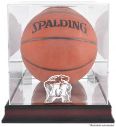 Maryland Terrapins Mahogany Antique Finish Basketball Display Case with Mirror Back