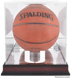 Miami Hurricanes Mahogany Antique Finish Basketball Display Case with Mirror Back - Mounted Memories