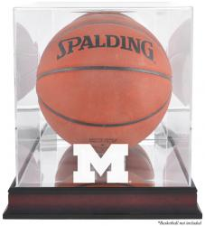 Michigan Wolverines Mahogany Antique Finish Basketball Display Case with Mirror Back
