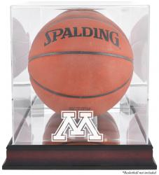 Minnesota Golden Gophers Mahogany Antique Finish Basketball Display Case with Mirror Back - Mounted Memories