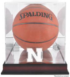 Nebraska Cornhuskers Mahogany Antique Finish Basketball Display Case with Mirror Back