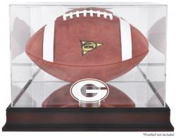 Georgia Bulldogs Mahogany Base Logo Football Display Case with Mirror Back - Mounted Memories