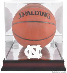 North Carolina (UNC) Tar Heels Mahogany Antique Finish Basketball Display Case with Mirror Back - Mounted Memories