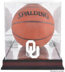 Oklahoma Sooners Mahogany Antique Finish Basketball Display Case with Mirror Back