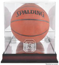 South Carolina Gamecocks Mahogany Antique Finish Basketball Display Case with Mirror Back - Mounted Memories