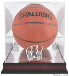 Wisconsin Badgers Mahogany Antique Finish Basketball Display Case with Mirror Back - Mounted Memories