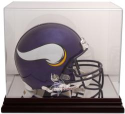 Minnesota Vikings Mahogany Helmet Logo Display Case with Mirror Back