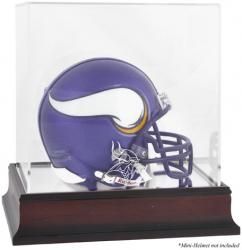 Minnesota Vikings Mahogany Logo Mini Helmet Display Case - Mounted Memories